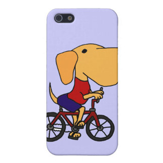 XX- Yellow Labrador Dog Riding Bicycle Cartoon Cover For iPhone 5