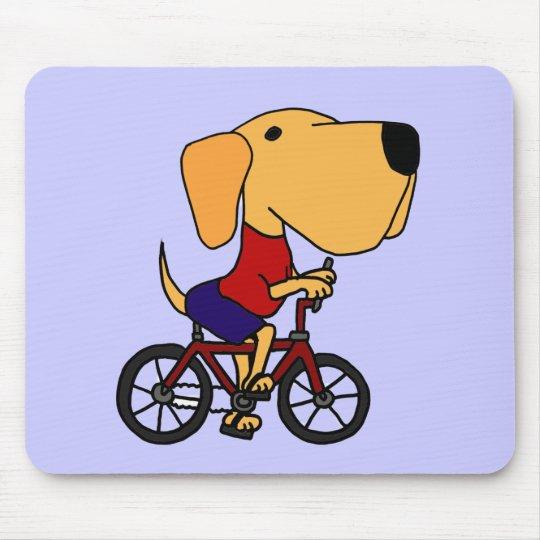 XX- Yellow Labrador Dog Riding Bicycle Cartoon Mouse Pad