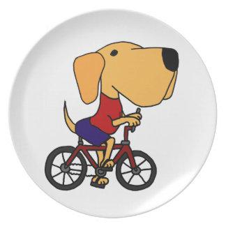 XX- Yellow Labrador Dog Riding Bicycle Cartoon Dinner Plate