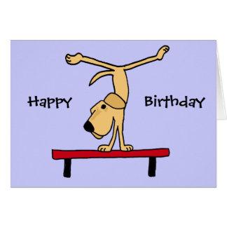 XX- Yellow Labrador on Balance Beam Cartoon Greeting Card