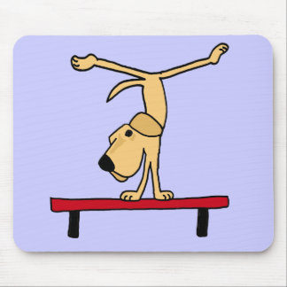 XX- Yellow Labrador on Balance Beam Cartoon Mouse Pad
