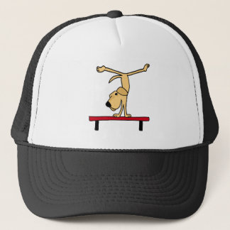 XX- Yellow Labrador on Balance Beam Cartoon Trucker Hat