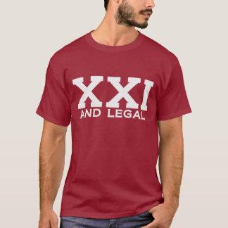 XXI y camiseta legal del cumpleaños del jalón