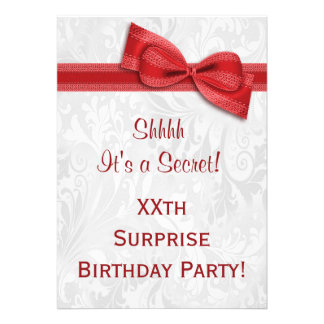 XXth SURPRISE Birthday Party Damask and Bow Invites
