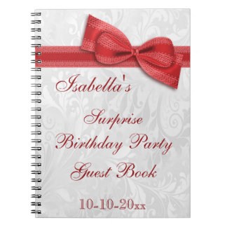 XXth SURPRISE Birthday Party Damask and Bow Spiral Notebooks