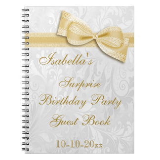 XXth SURPRISE Birthday Party Damask and Bow Notebook