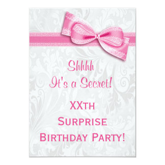 XXth SURPRISE Birthday Party Damask & Pink Bow 5x7 Paper Invitation Card