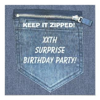 XXth SURPRISE Birthday Party Keep It Zipped Denim Card