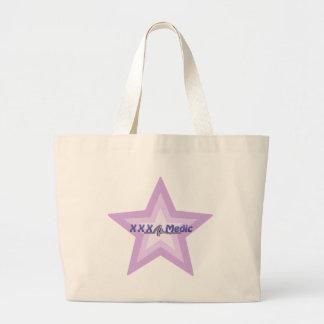 XXX estrella y texto púrpuras del médico Bolsa Tela Grande