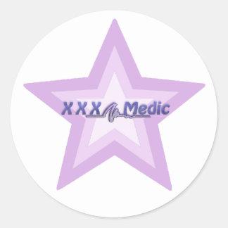 XXX estrella y texto púrpuras del médico Pegatina Redonda