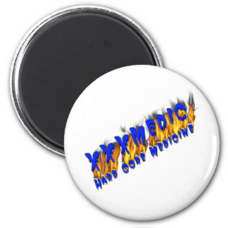 XXX Medic Blue Text With Flame 2 Inch Round Magnet
