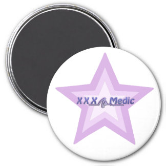 XXX Medic Purple Star And Text 3 Inch Round Magnet