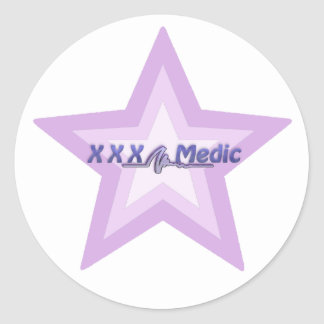 XXX Medic Purple Star And Text Classic Round Sticker