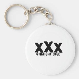 xXx Straight Edge Basic Round Button Keychain