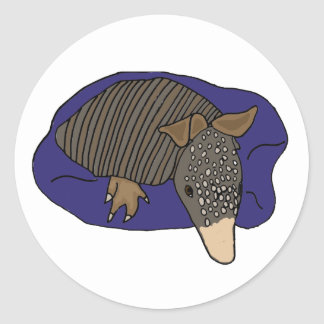 XY- Baby Armadillo on a Pillow Design Classic Round Sticker