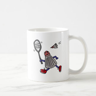 XY- Badminton Birdie Playing Badminton Cartoon Coffee Mug