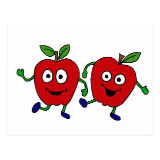 XY- Dancing Apples Cartoon Postcard