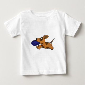 XY- Funny Brown Puppy Dog Catching Frisbee Baby T-Shirt