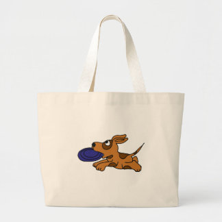 XY- Funny Brown Puppy Dog Catching Frisbee Tote Bag