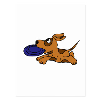 XY- Funny Brown Puppy Dog Catching Frisbee Post Card