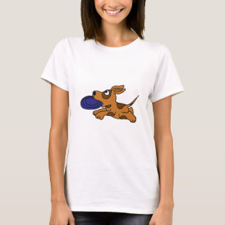 XY- Funny Brown Puppy Dog Catching Frisbee T-Shirt