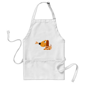 XY- Funny Dog with a Bone Cartoon Adult Apron