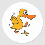 XY- Funny Duck Slipping on Banana Peel cartoon Classic Round Sticker