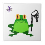 XY- Funny Frog and Dragonfly Cartoon Small Square Tile