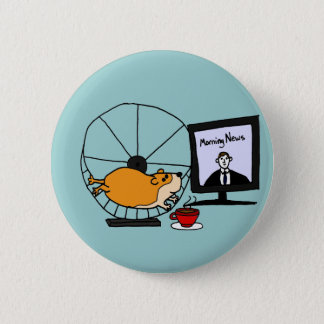 XY- Funny Hamster on an Exercise Wheel Satire Button