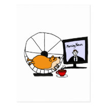 XY- Funny Hamster on an Exercise Wheel Satire Postcard