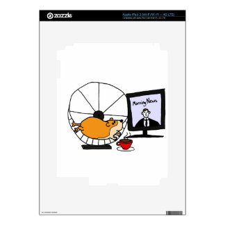 XY- Funny Hamster on an Exercise Wheel Satire Decals For iPad 3