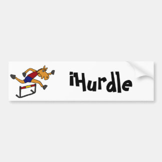 XY- Funny Horse Jumping Over Hurdles Cartoon Bumper Stickers