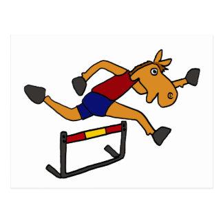 XY- Funny Horse Jumping Over Hurdles Cartoon Postcard