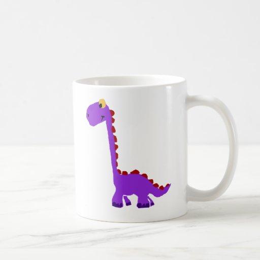XY- Funny Purple Dinosaur Primitive Art Coffee Mug