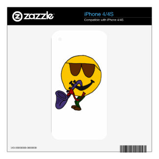 XY- Funny Smiley Face Playing Saxophone iPhone 4S Decal