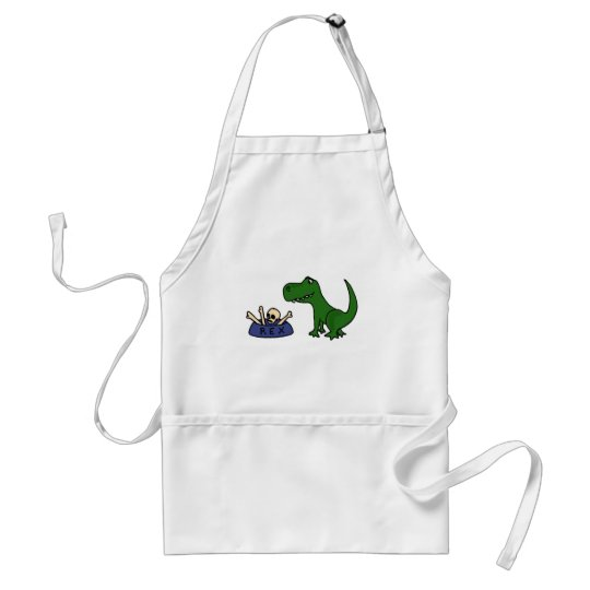 XY- Funny T-Rex Dinosaur and Skull in Bowl Adult Apron