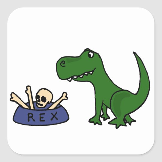 XY- Funny T-Rex Dinosaur and Skull in Bowl Square Sticker
