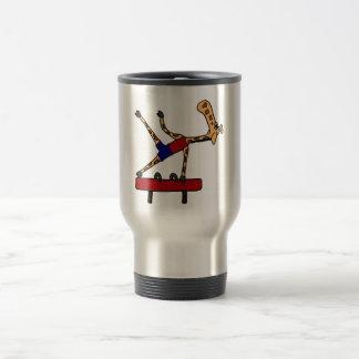 XY- Giraffe Gymnast on Pommel Horse Cartoon Travel Mug