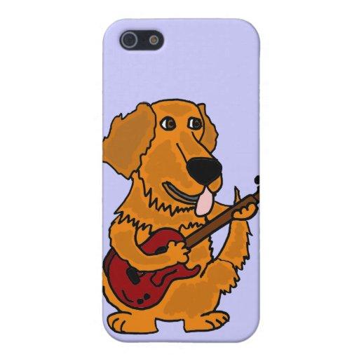 XY- Golden Retriever Playing the Guitar Cartoon iPhone 5 Cover