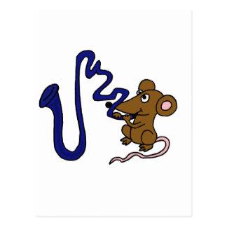 XY- Mouse Playing SaxophoneC artoon Postcard