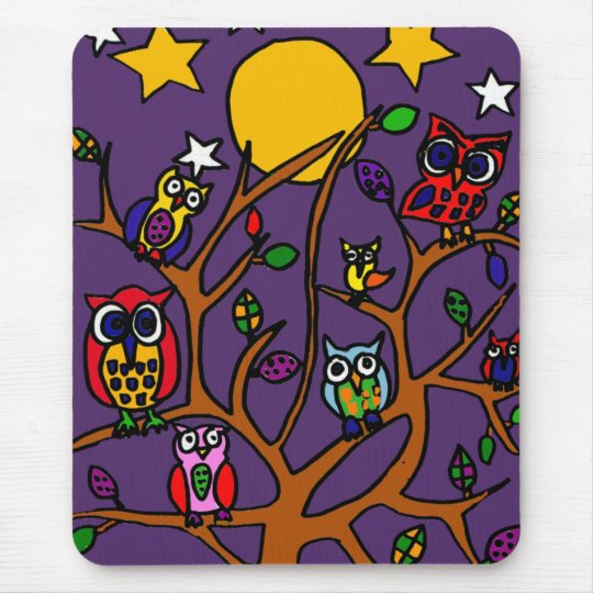 XY- Owls Folk Art Cartoon Mouse Pad