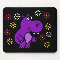XY- Purple Hippo and Daisies Art Mouse Pad