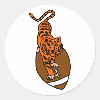 XY- Tiger on a Football Cartoon Classic Round Sticker