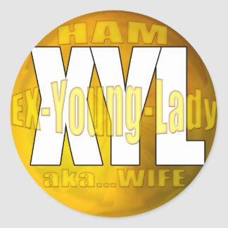 XYL HAM RADIO OPERATOR EX YOUNG LADY WIFE CLASSIC ROUND STICKER