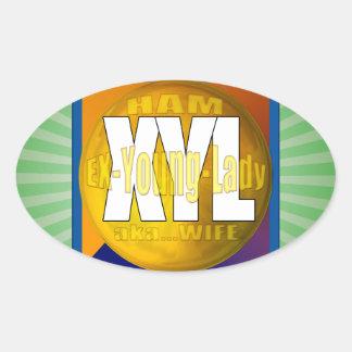 XYL HAM RADIO OPERATOR EX YOUNG LADY WIFE OVAL STICKER