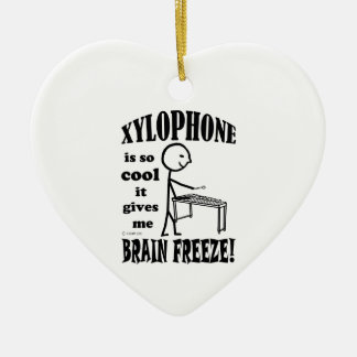 Xylophone, Brain Freeze Double-Sided Heart Ceramic Christmas Ornament