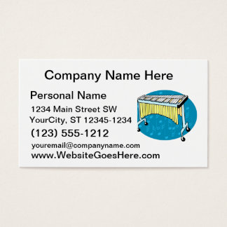 Xylophone graphic with blue background business card