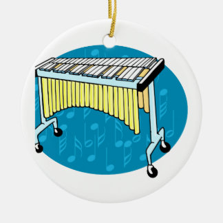 Xylophone graphic with blue background Double-Sided ceramic round christmas ornament