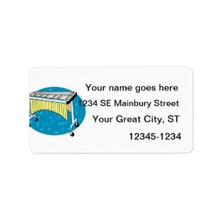 Xylophone graphic with blue background custom address label