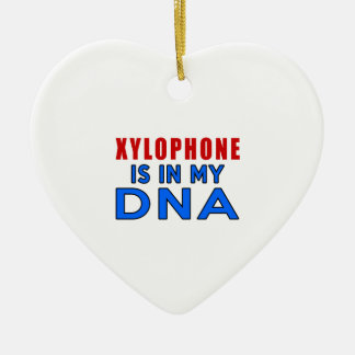 XYLOPHONE IS IN MY DNA Double-Sided HEART CERAMIC CHRISTMAS ORNAMENT